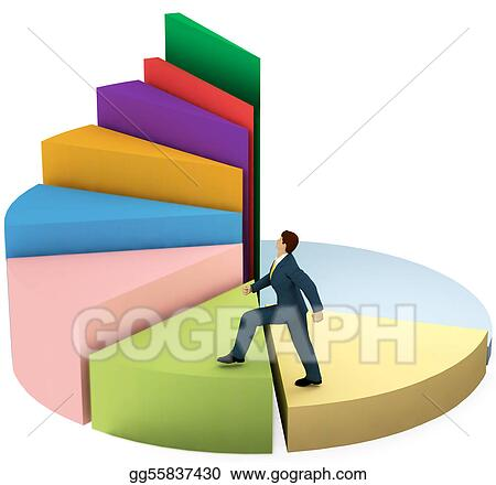Business man climbs up growth pie chart stairs