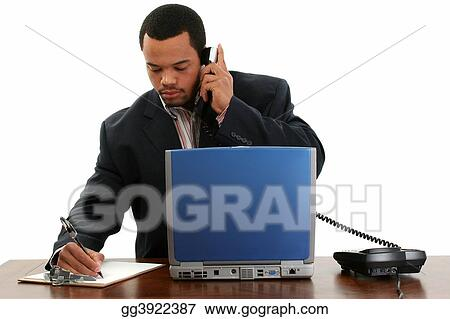 Business Man Laptop, Phone, Notes