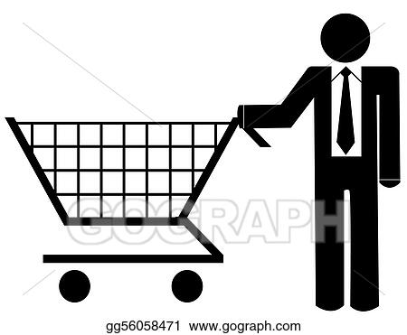 Stock illustration business man pushing shopping cart illustration