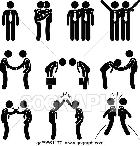 vector illustration business manner greetings gesture running stick figure vector stick figure vector art free