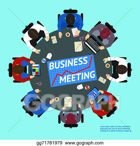 Vector Art - Business people at a negotiating table. Clipart ...