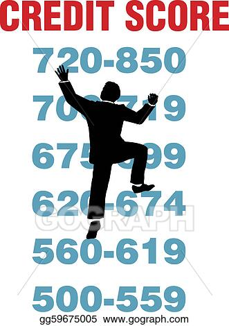 Clip art business person climbing credit report to achieve better