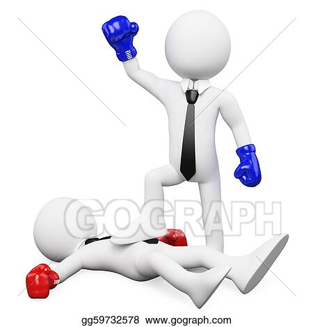 Businessman winning a boxing match