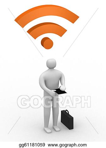 businessman working on Ipad and rss symbol