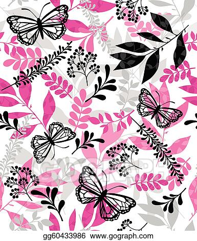 Butterfly and Leaf Repeat Pattern