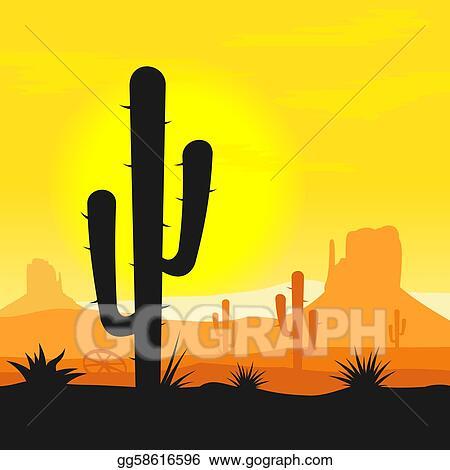 Cactus plants in desert Western Desert Clipart