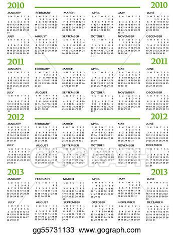 Вектор: Calendar, New Year 2010, 2011, 2012, 2013.  Все фото, векторы, клипарты и видео jelena zaric.