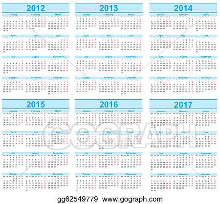Clip Art - Calendar 2012, 2013, 2014, 2015, 2016, 2017. Stock ...