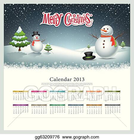 Clip art calendar 2013 merry christmas and snowman background