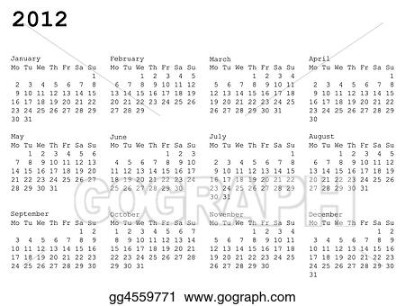 calendar of 2012. Monday is first