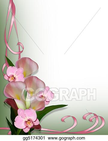 Stock Illustration - Calla lilies and orchids border. Clipart ...