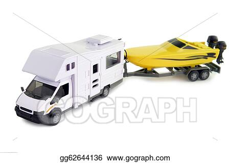 ... vehicle pulling speed boat on trailer. Stock Photography gg62644136