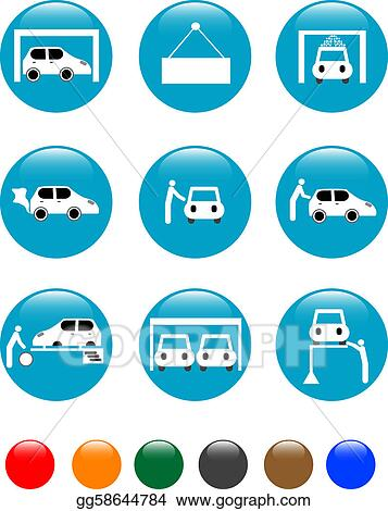 Drawing Car Auto Service Blue Button Set Icon Clipart