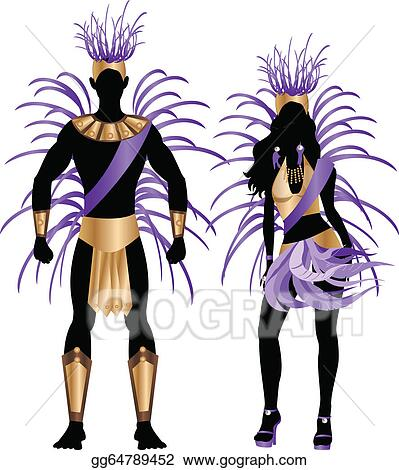 Clip art vector illustration blue couple for carnival costume