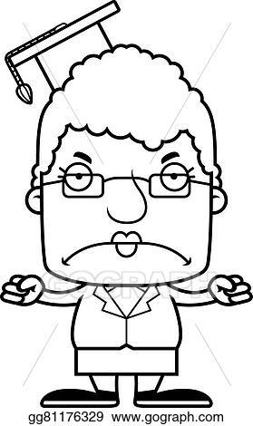 EPS Illustration - Cartoon angry teacher woman. Vector Clipart ...