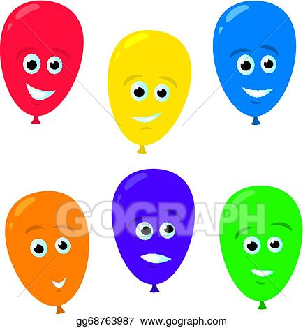 Vector Art - Cartoon balloon faces. Clipart Drawing ...
