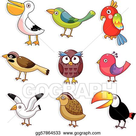 Clip Art Vector Cartoon Birds Icon Stock EPS