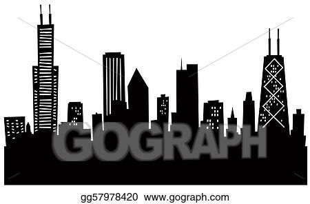 Stock illustration cartoon skyline silhouette ofchicago usa