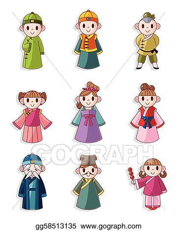 Clip Art Vector - Cartoon chinese people icon set. Stock ...