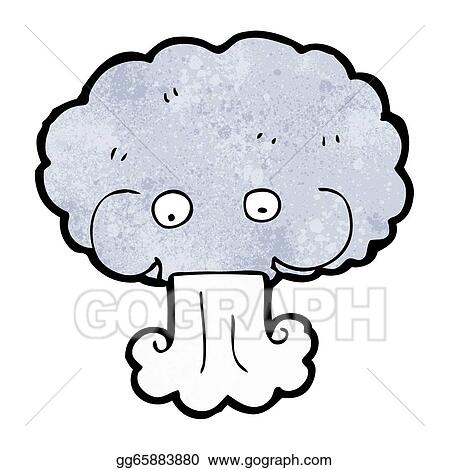 Vector Clipart - Cartoon cloud blowing wind. Vector Illustration ...