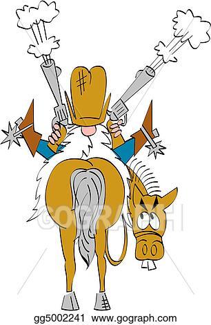 Vector Illustration - Cartoon cowboy riding horse clipart. Stock ...