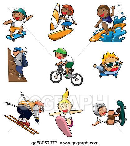 Vector Stock - Cartoon extreme sport icon . Stock Clip Art ...