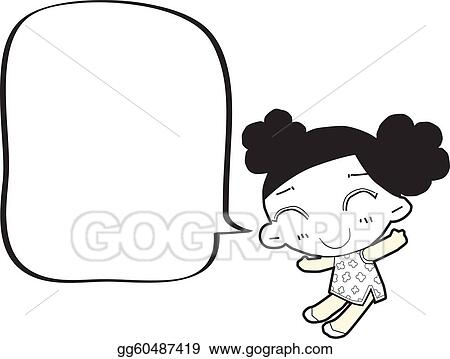 Stock illustration cartoon girl with speech bubble clipart drawing