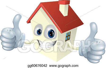 Vector illustration cartoon house mascot eps clipart for Mascot homes floor plans
