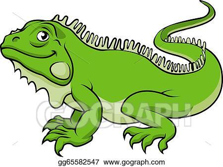 Of a happy green cartoon iguana lizard stock clipart gg65582547