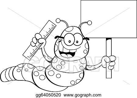 Vector Clipart - Cartoon inchworm holding a sign (bl. Vector ...