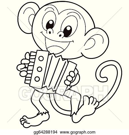 cartoon monkey playing an accordion