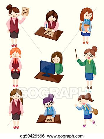 Vector Clipart - Cartoon pretty office woman worker icon set ...