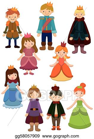 Vector Illustration - Cartoon prince and princess icon . Stock ...