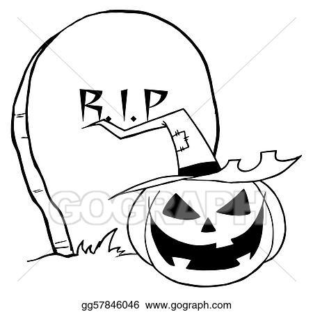 Vector Clipart - Cartoon r i p gravestone pumpkin. Vector ...