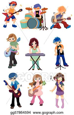 Vector Stock - Cartoon rock band icon . Clipart Illustration ...