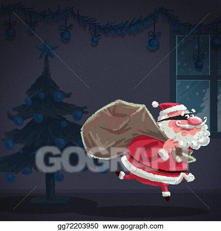 Stock Illustration - Cartoon santa claus thief is stealing a house ...