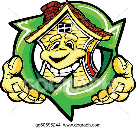 Cartoon Vector Image of a Happy Smiling Energy Efficient House with Hands Holding a Recycle Symbol
