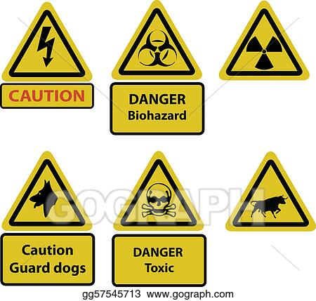 Vector Art - Caution and hazard signs vector. Clipart Drawing ...