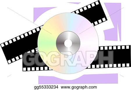 CD and film in violet colour background
