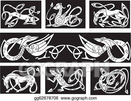 Clip Art Vector - Celtic knot patterns wuth animals. Stock EPS ...