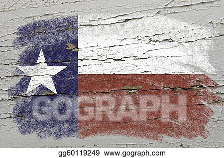Chalky american state of texas flag precisely painted with color chalk on grunge wooden texture