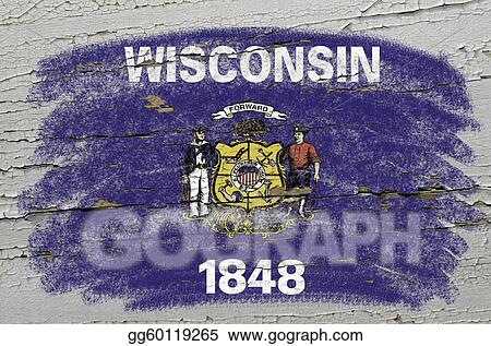 Chalky american state of wisconsin flag precisely painted with color chalk on grunge wooden texture