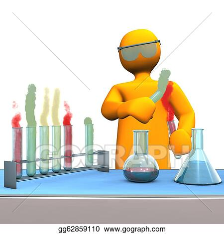 Stock illustration orange cartoon character as chemist with test