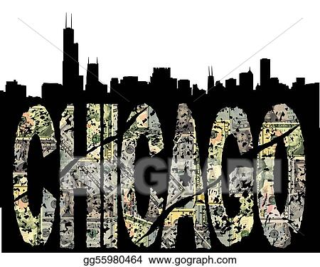Chicago grunge dollar with skyline