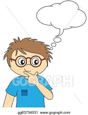 Vector Illustration - Child thinking. space dialogue. Stock Clip Art ...