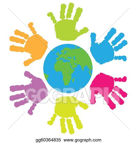 Vector Clipart - Children hand print around the eart. Vector ...