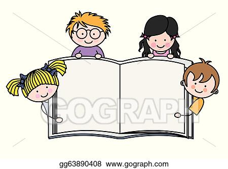 Vector Stock - Children showing a blank book. Stock Clip Art ...