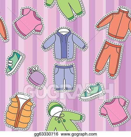 Of children s clothes on violet background clipart drawing gg63330716