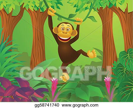 Chimpanzee in the jungle