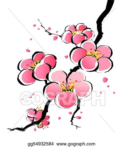 ... painting of pink sakura in a white background. Clipart gg54932584